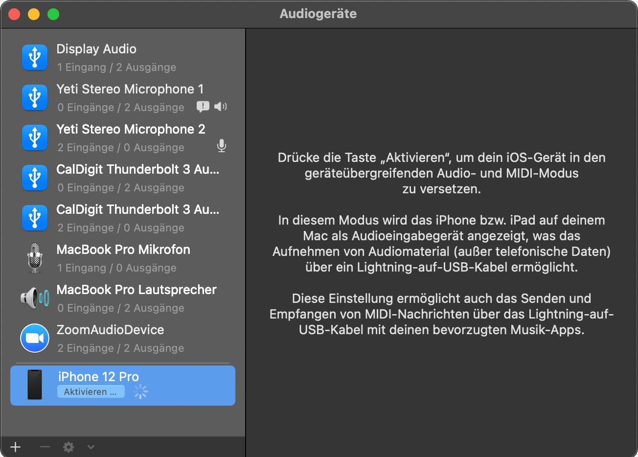 Auswahl des iPhones als Audioquelle unter macOS